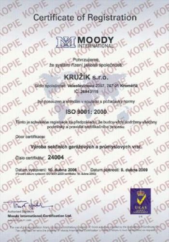 certifikát KRUŽÍK s.r.o. - ISO 9001:2000