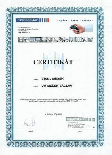 certifikát o technicko-obchodním školení